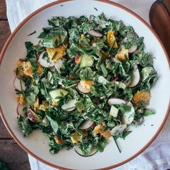 Chopped Spinach Fattoush Salad with Tahini-Sumac Sauce