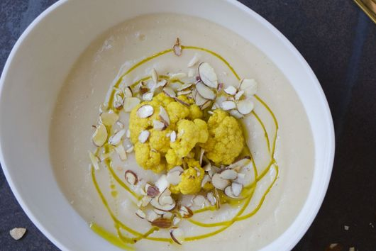 Cauliflower soup , pickled cauliflower and roasted almonds