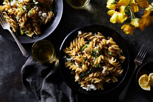 Asparagus Pasta with Pistachio Aillade