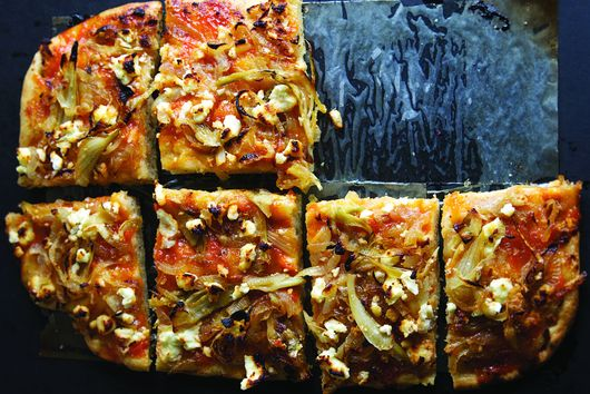 Mrs. Wheelbarrow's Focaccia with Apricot Jam, Caramelized Onion, and Fennel