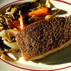 Fennel and Black Peppercorn Crusted Swordfish with Pan Roasted Carrots