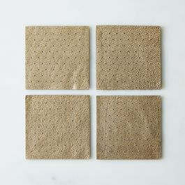 Gold Leather Coasters (Set of 4)
