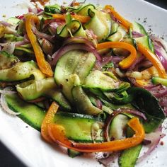 Mediterranean zucchini ribbon sauté with balsamic reduction