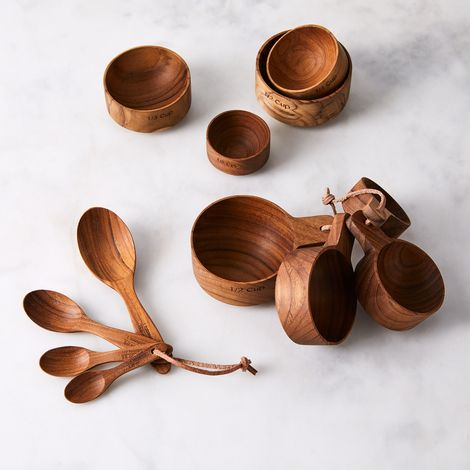 Teak Measuring Cups & Spoons