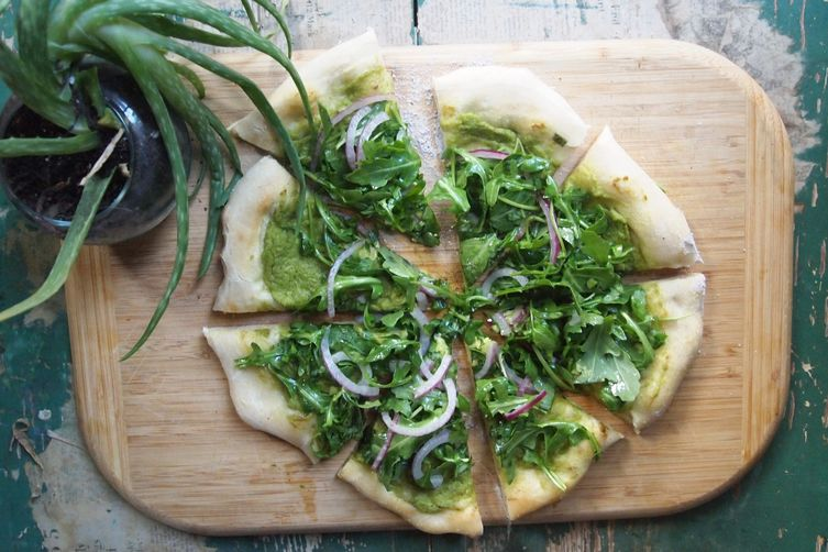 Avocado Pizza + Arugula, basil, & lime