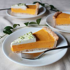 Mango lime cream tart with coconut tart