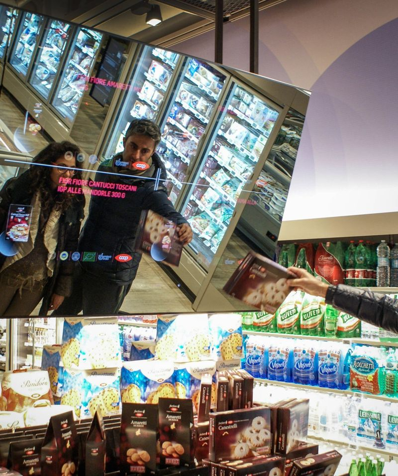 Sensor-activated food display panels at The Supermarket of the Future