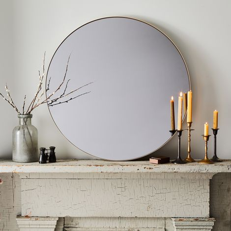 Smoke-Tinted Round Mirror