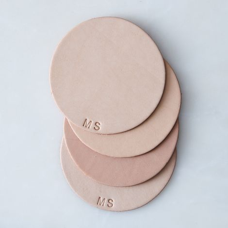 Monogram Leather Coasters (Set of 4)