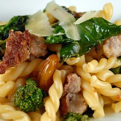 Gemelli with Rapini, Sausage and Raisins