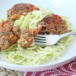 Tomatokeftedes (Tomato Balls) with Tzatziki Zucchini Pasta