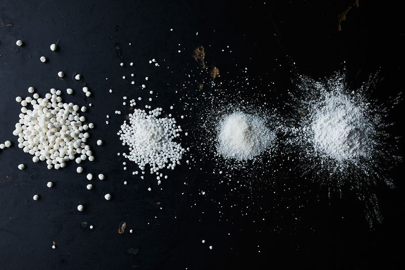 From left: Large pearls, small pearls, instant tapioca, and tapioca flour.