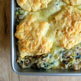 Quinoa and Wild Rice Casserole with Kale, Leeks, and Gruyère Biscuit Crust