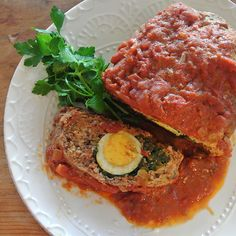 stuffed meatloaf with tomato & onion ragu (polpettone ripiene)