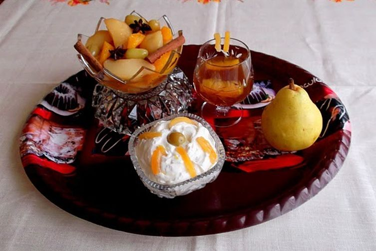 Anise Pear Compote Served with Ricotta-Raisins Mousse