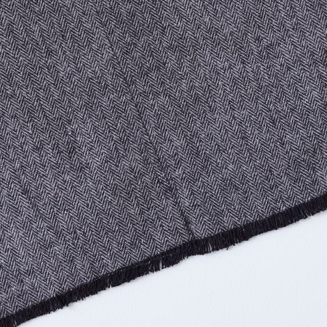 Grey Herringbone Flannel Table Runner