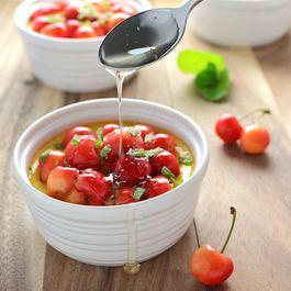 Honey Custard with Sweet Cherries