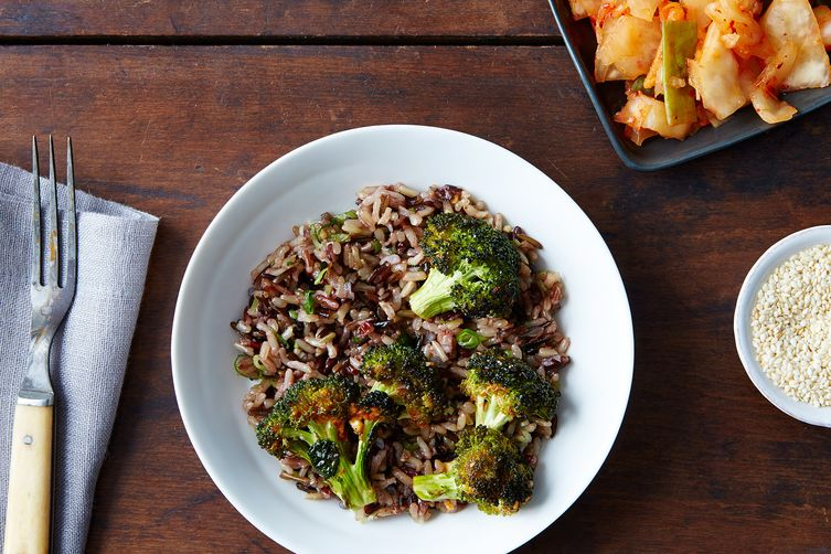 Warm Kimchi Bowl with Spicy Broccoli and Sesame-Scallion Wild Rice