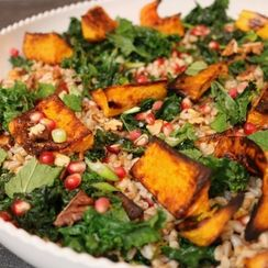 Roasted Winter Squash, Farro and Garlicky Kale Salad