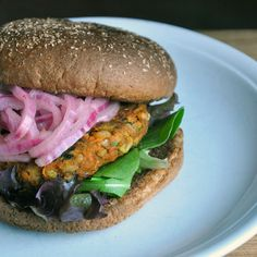 Split Pea-Barley Burger with Quick Pickled Onions