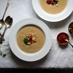 Roasted Cauliflower and Moroccan-Spiced Almond Soup