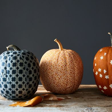 A Spiffy, Fabric-Covered Pumpkin That Might Outdo the Jack-o'-Lantern