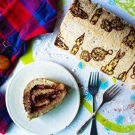 Patterned Chocolate Peanut Butter Cake Roll (gluten free & vegan)