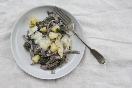 Pizzoccheri Valtellinesi (Buckwheat Pasta with Potatoes and Swiss Chard)
