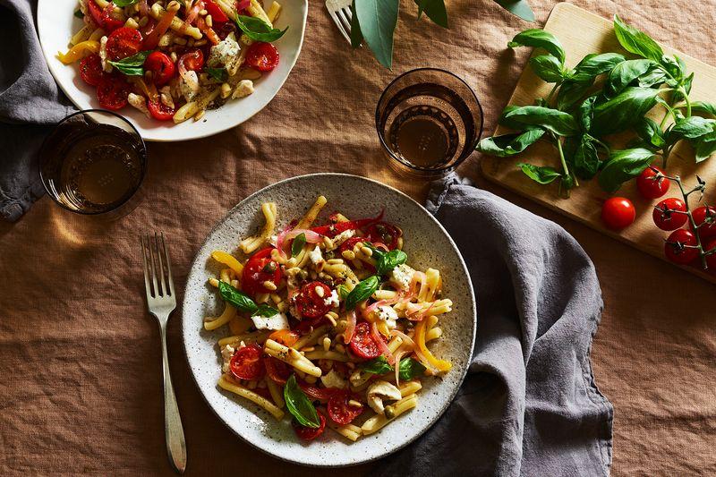 Pasta salad borrows from Italian peperonata.