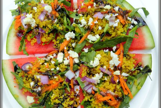 Watermelon pizza salad with curried quinoa