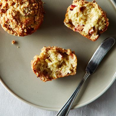 Rhubarb Lavender Streusel Muffins