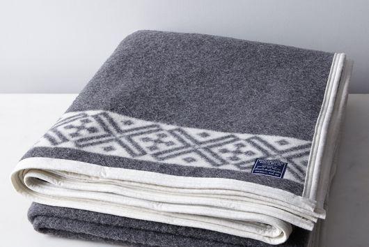 Charcoal & Cream Reversible Fair Isle Wool Blanket