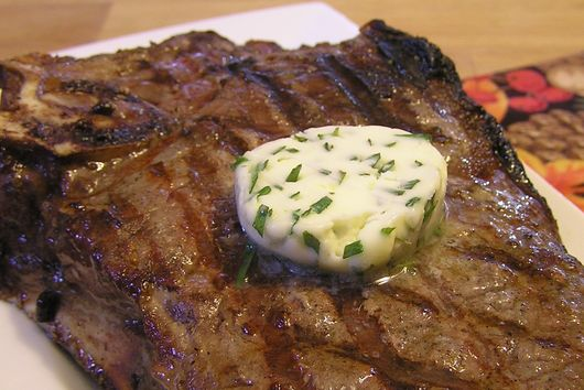 Tarragon Chive Lemon Butter on Grilled Steaks