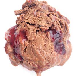 Dark chocolate smoked sea salt ice cream with Concord grape jelly ripple