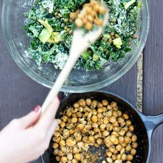 KALE CAESAR SALAD WITH CRISPY CHICKPEAS