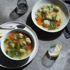 Chicken and Chickpea Soup With Dumplings (Gondi)