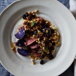 Roasted Lamb Loin and Purple Potatoes
