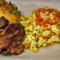 Cheese Scrambled Eggs with Bacon and Jalapeno-Cheddar Cheese Roll