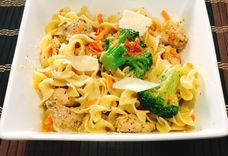 Chicken and Broccoli Over Egg Noodles
