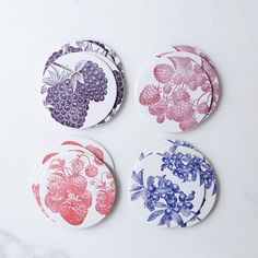 Berries Letterpress Coasters (Set of 16)