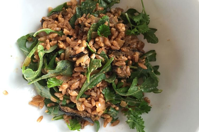 Smokey Eggplant Farro and Arugula Salad
