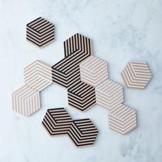 Optic Table Tile Coasters (Set of 12)