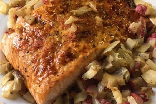 Baked Salmon with Roasted Fennel and Radish Salsa