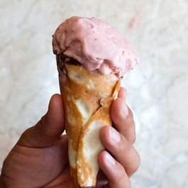 Strawberry Rhubarb Ice Cream on Chocolate Dipped Sugar Cones