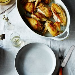 Dinner Tonight: Super-Quick Roast Chicken with Garlic and White Wine Gravy
