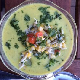 Curried Corn and Zucchini Bisque with Crab