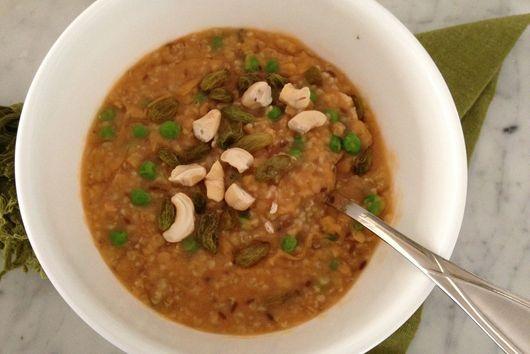 Porridge and red lentils spilt soup