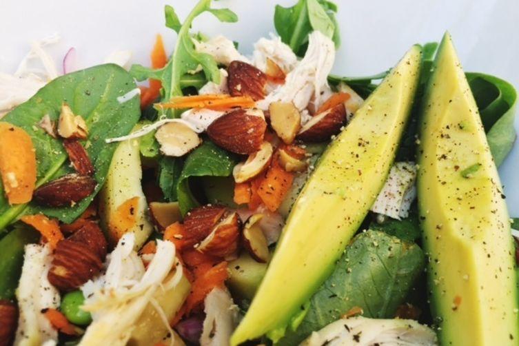Roast chicken salad with avocado and lemony miso dressing