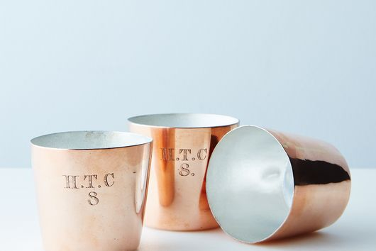 Vintage Copper Rum Cups, Late 19th Century (Set of 3)