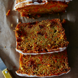 Carrot Zucchini Bread with Lemon Glaze